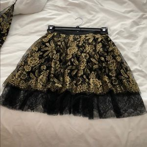 Adam Lippes black and gold lace skirt